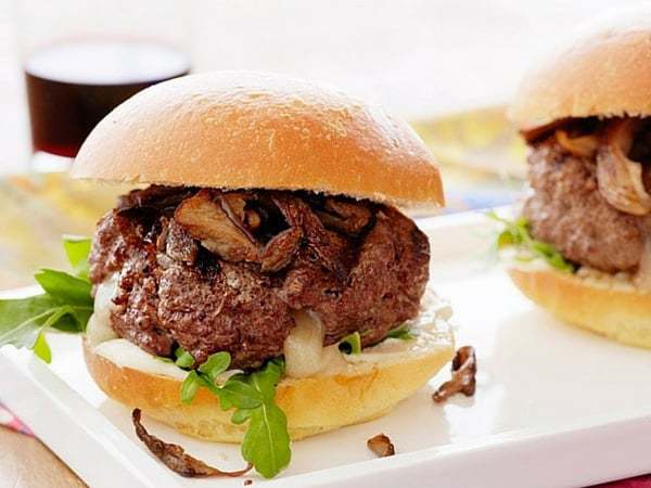 Truffle Cheese-Stuffed Burger with Crispy Trumpet Mushrooms