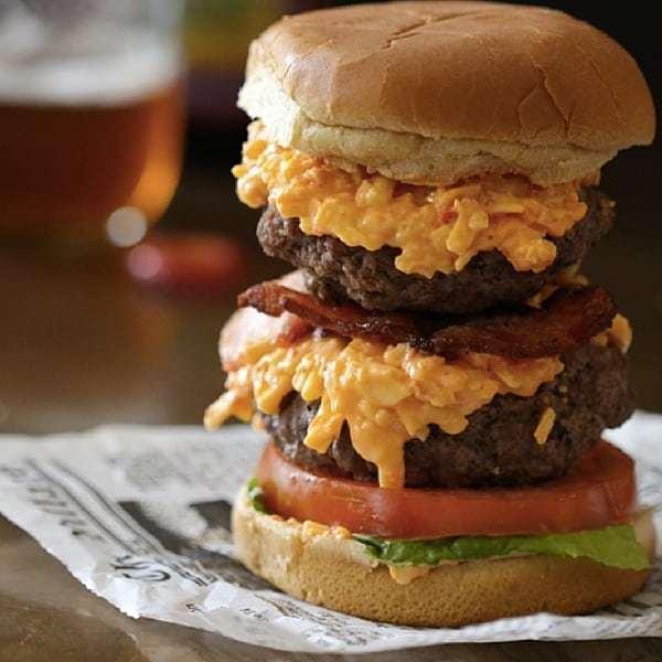 double pimento burger with crispy bacon