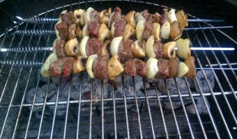 Grilled Herby Steak Onion and Mushroom Skewers