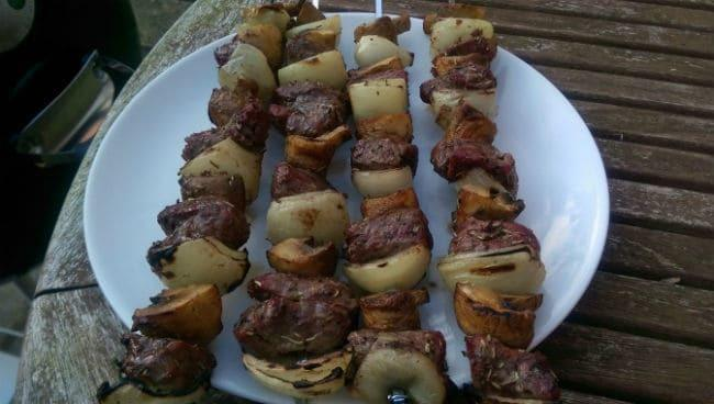 finished grilled meat skewers