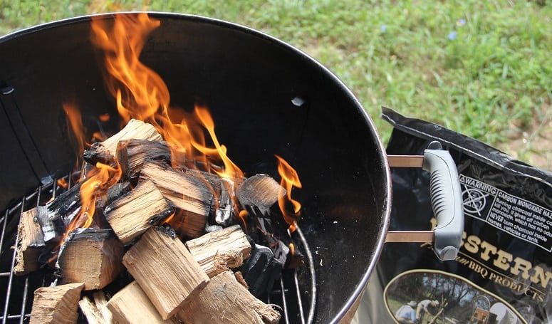 Natural Wood On Grill