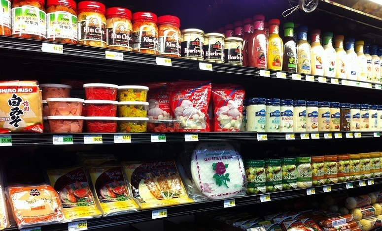 Dips, Sauces And Salads In Supermarket