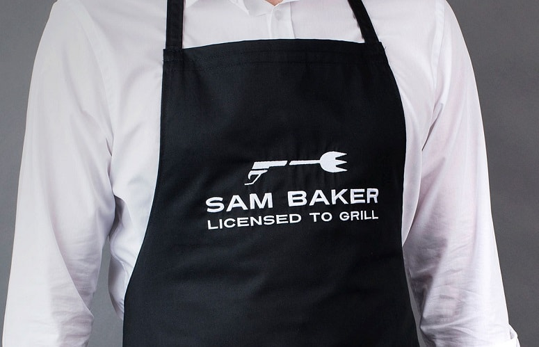 Man Wearing Grill Apron