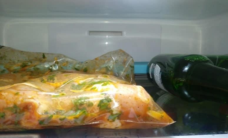 Chicken Meat In Marinade In Fridge