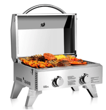Giantex Propane Tabletop Gas Grill Stainless Steel Two-Burner BBQ