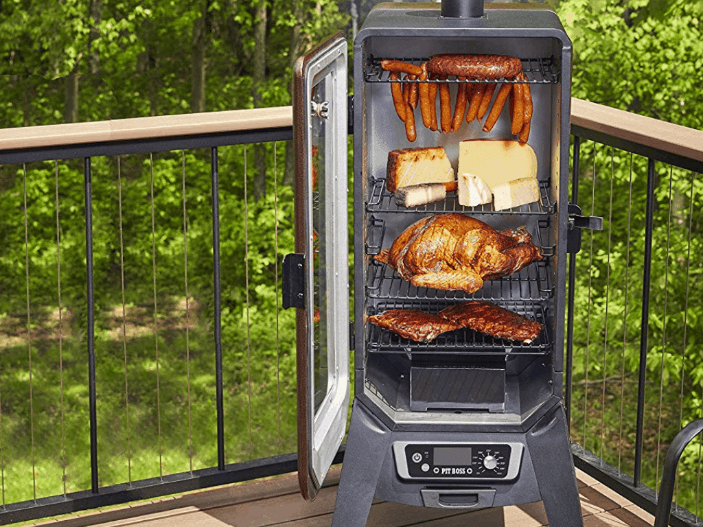 image of Pit Boss Grills PBV3P1 Vertical Pellet Smoker, Copper with meat inside