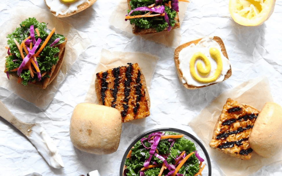 2. Grilled Barbecue Tempeh Slider with Kale Slaw