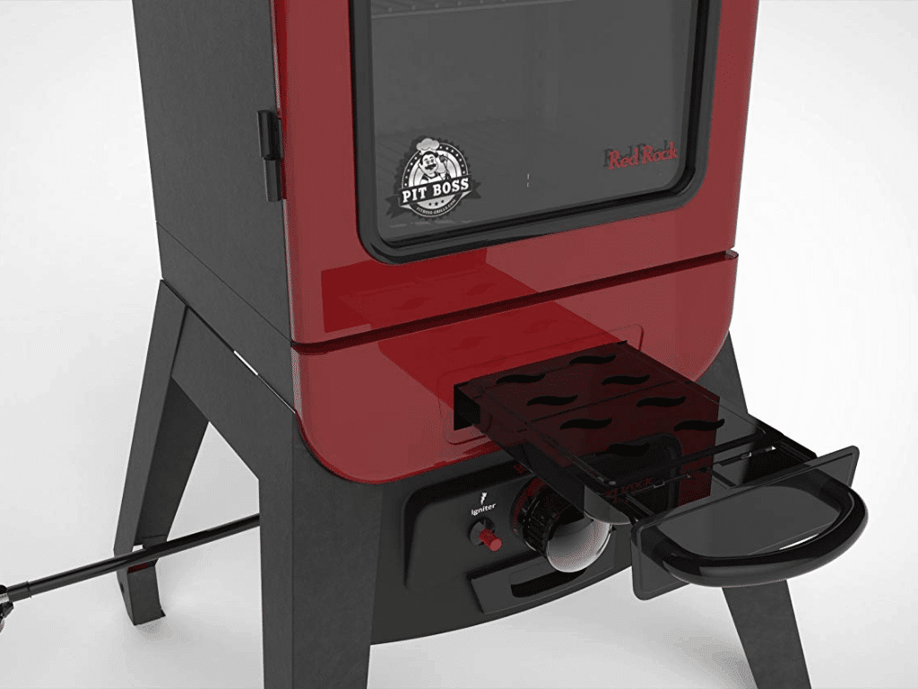 Image of the Pit Boss Grills 77425 2.5 Gas Smoker with tray out