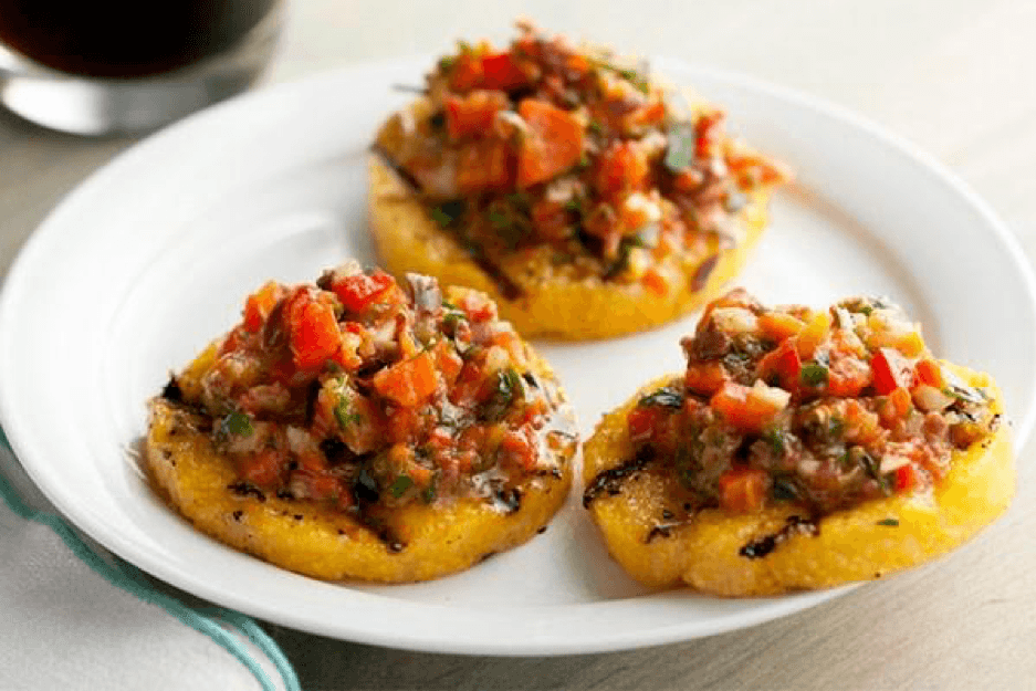 Grilled Polenta Crackers with Roasted Pepper Salsa