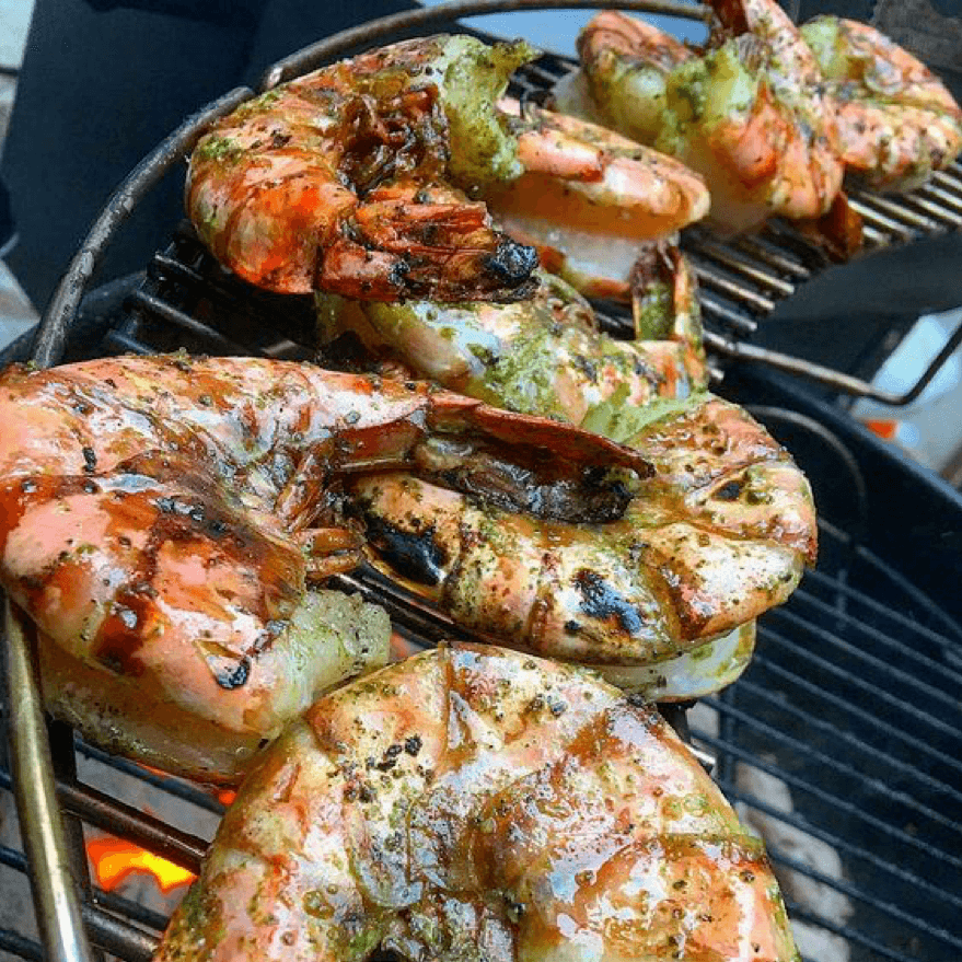 7. Barbecue jumbo shrimp stuffed with crab meat