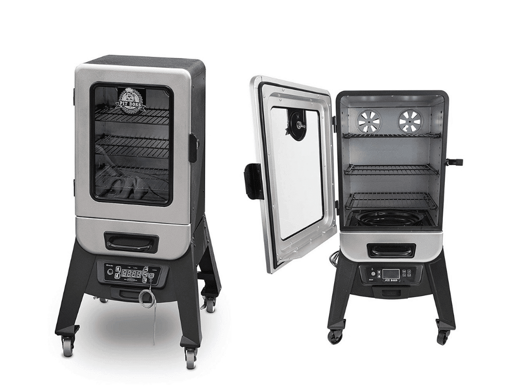side by side image of Pit Boss Grills 77221 2.2 Digital Smoker open and closed
