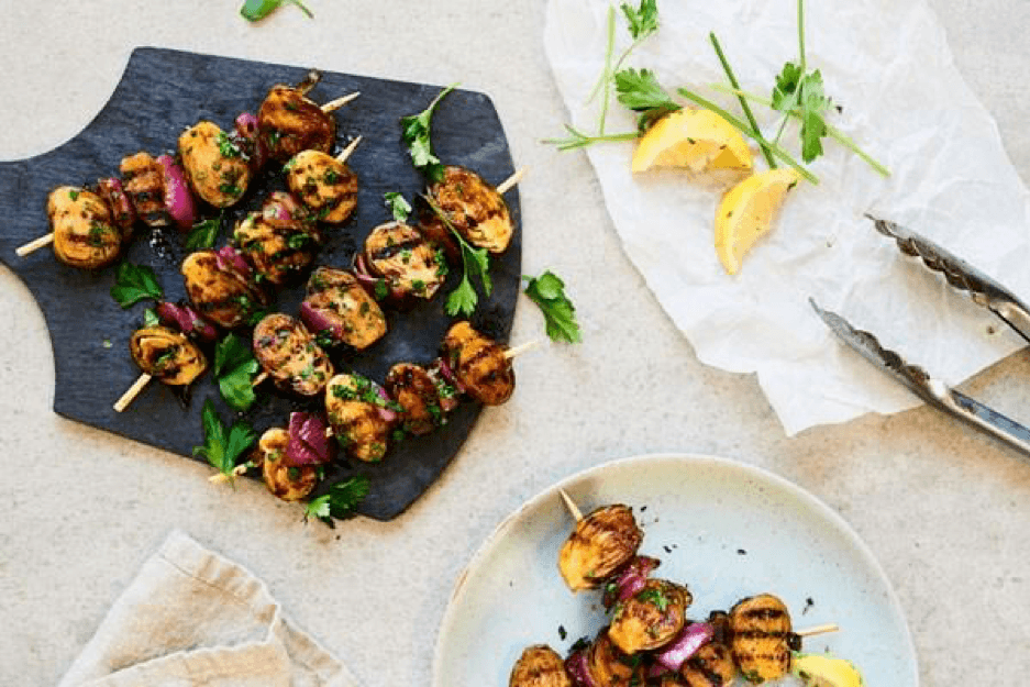 Candied Maple Balsamic Brussels Sprout Skewers