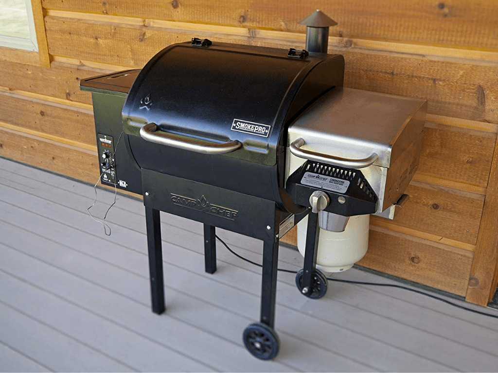camp chef smoke pro dlx pellet grill outdoors on porch