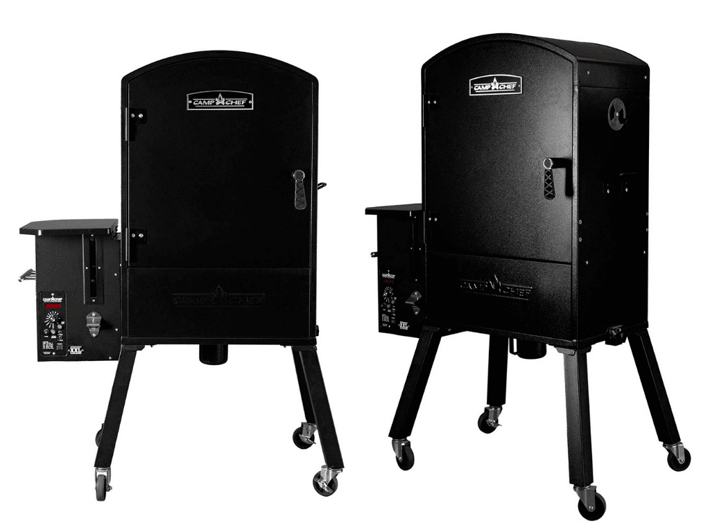 side by side view of Camp Chef XXL Vertical Pellet Grill and Smoker (PGVXXL) from two angles