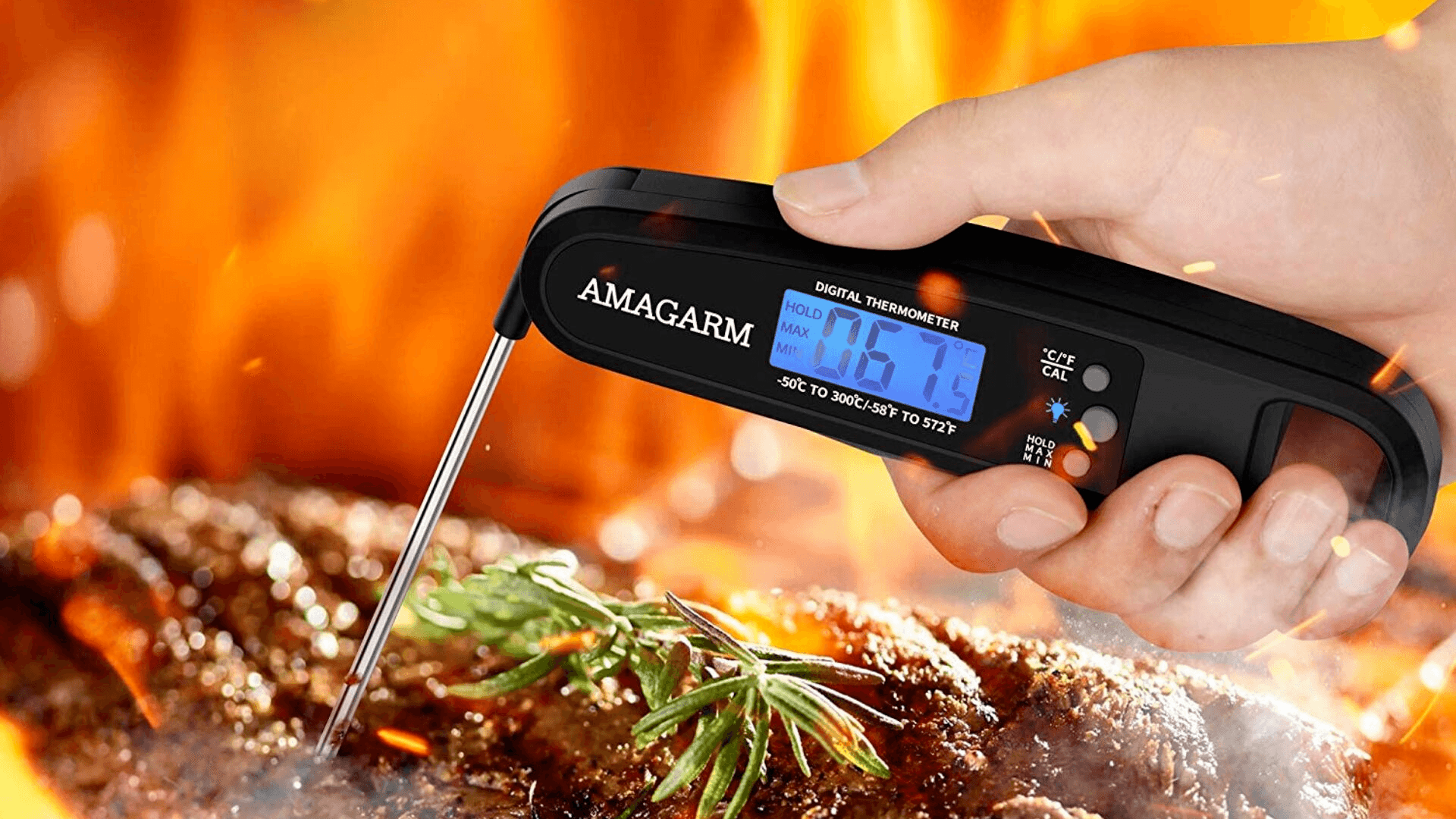 AMAGARM Digital Meat Thermometer being used to cook steak