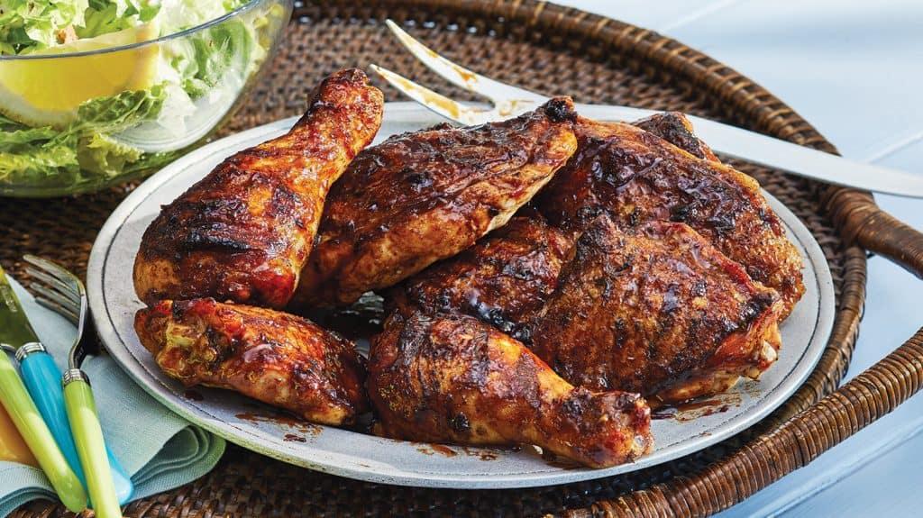 bbq chicken recipe on serving plate