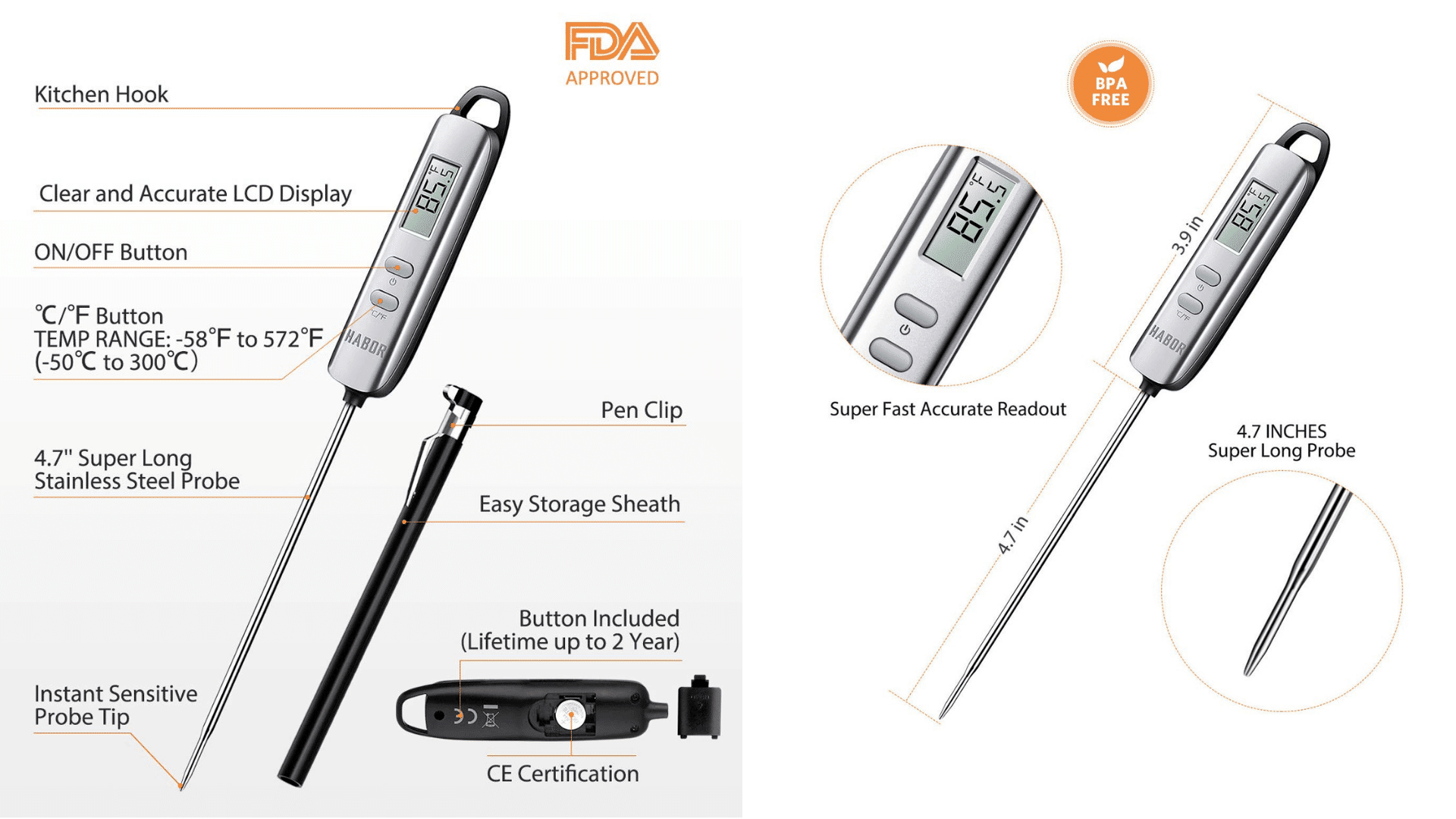 Diagram of Habor 022 Instant Read Digital Thermometer Features