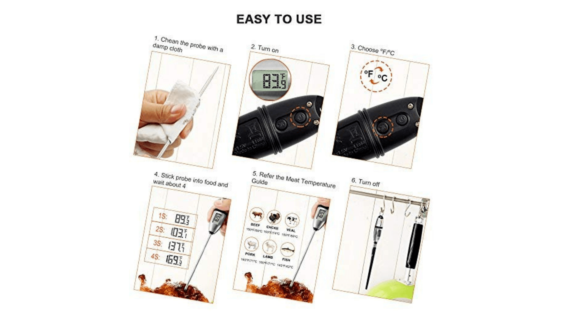 step by step pictures of how to clean and use your instant read thermometer