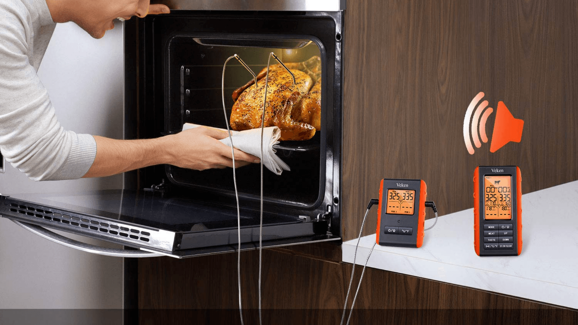 Image of man cooking chicken using wireless meat thermometer
