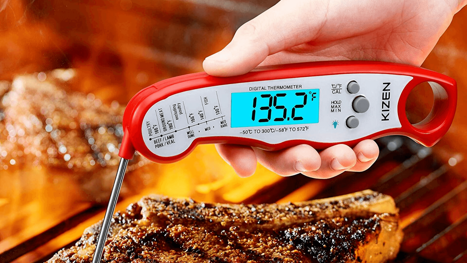 Picture of Kizen Digital Food Thermometer being used for steak