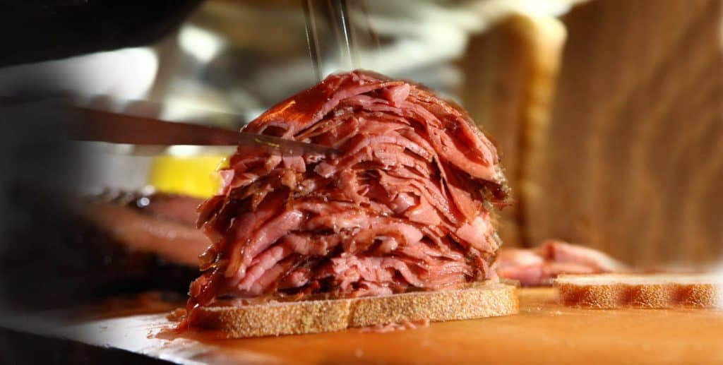 open faced montreal smoked meat sandwich recipe