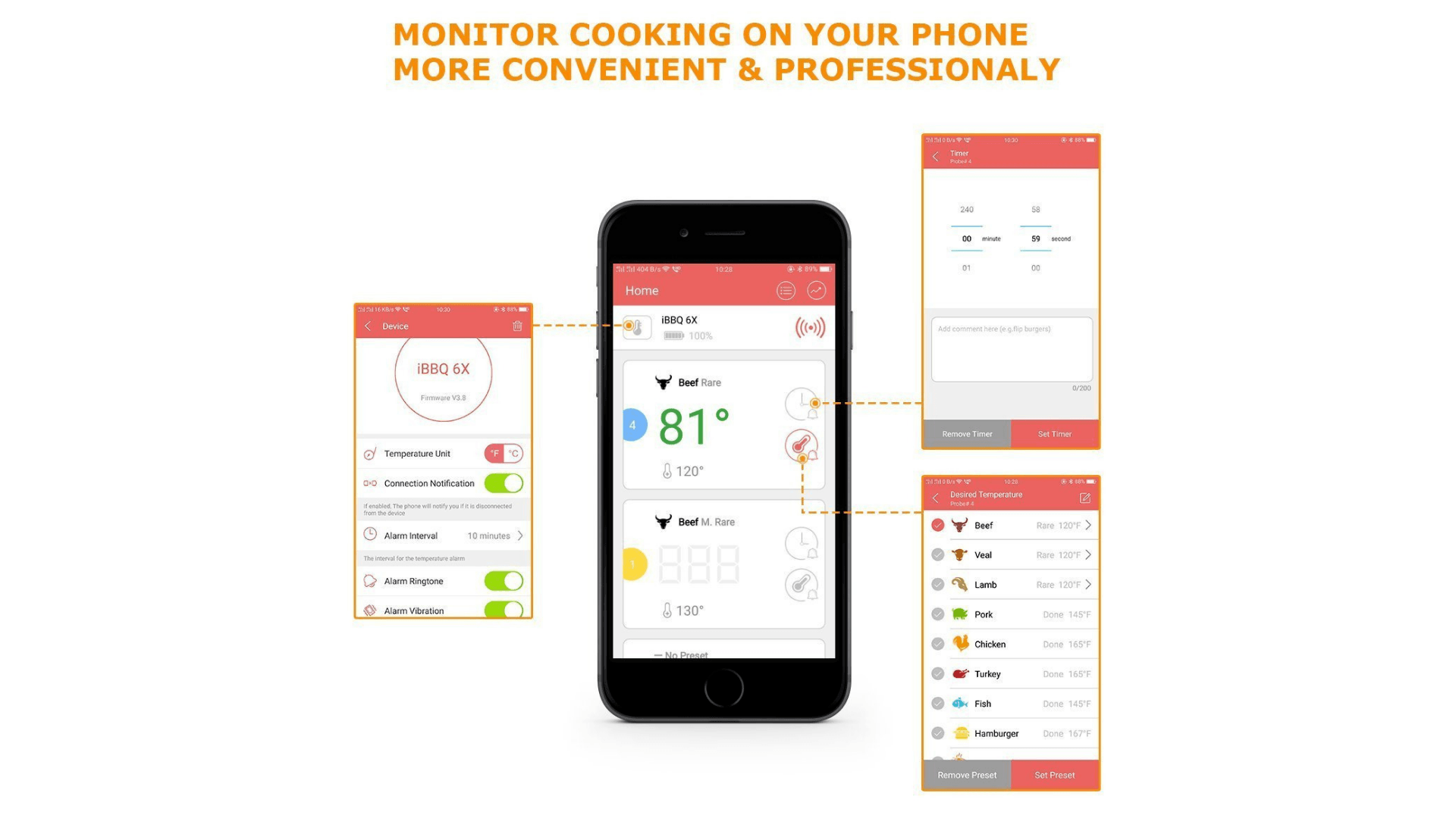 Picture of Soraken Wireless Bluetooth Meat Thermometer for Grilling app functions