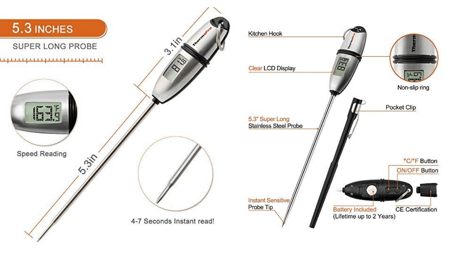 Diagram of ThermoPro TP-02S 5 Seconds Instant Read Meat Thermometer features