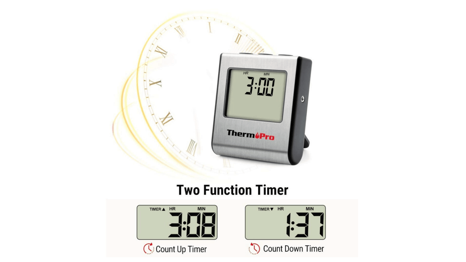 Product image of ThermoPro TP-16 Large LCD Digital Meat Thermometer two function timer
