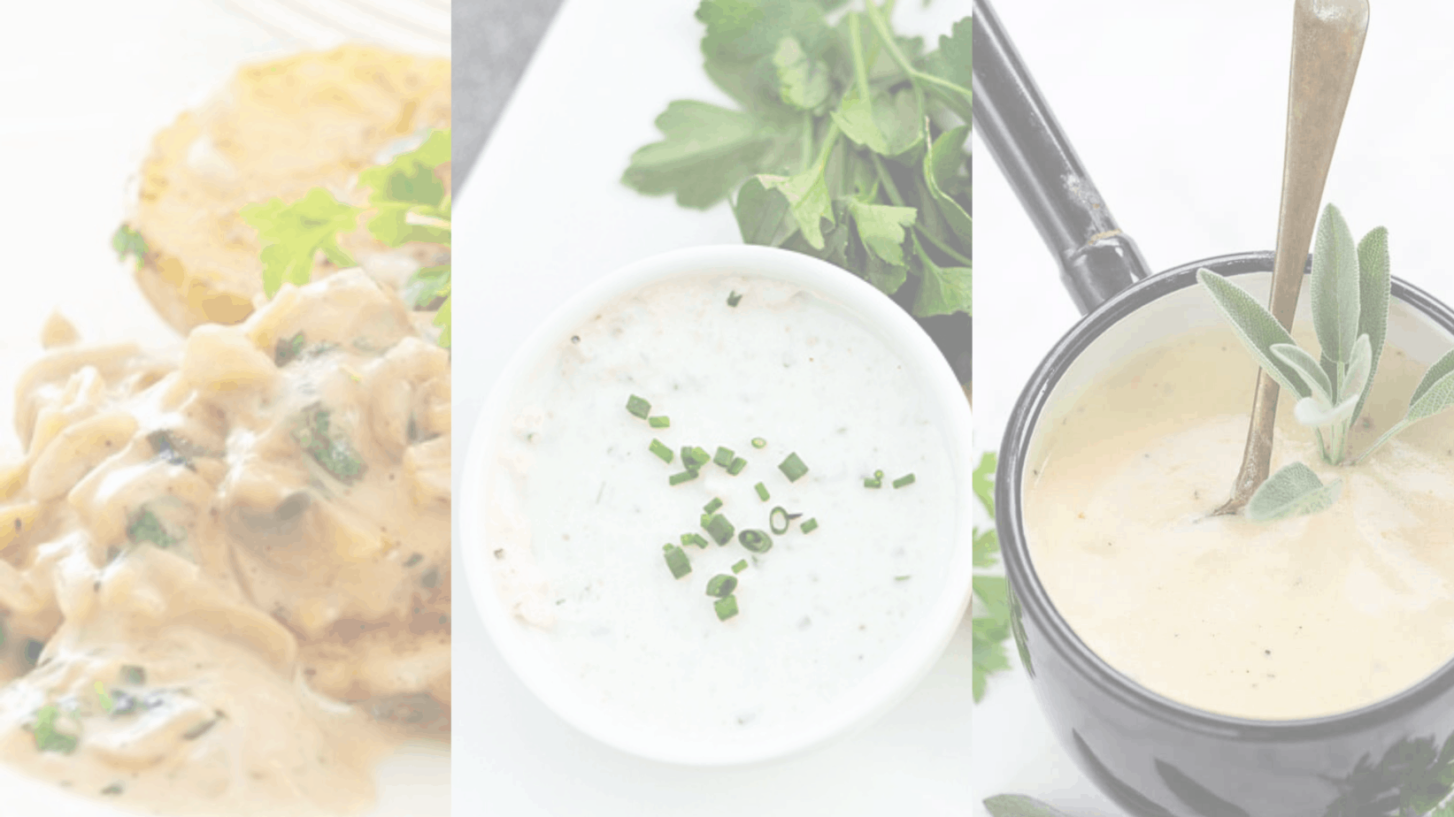 picture of three cream sauce recipes