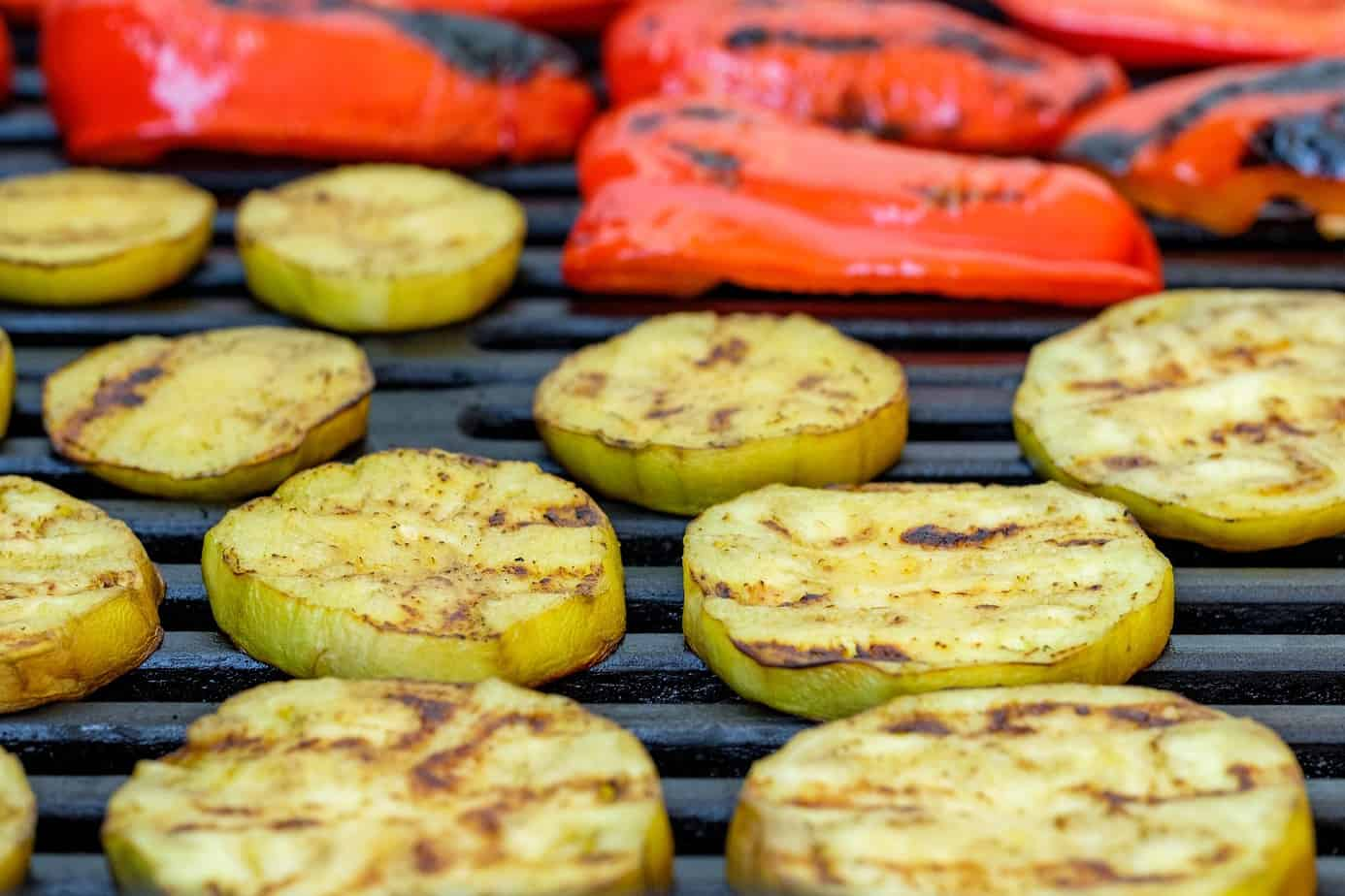 picture of pepper and squash grilling on bbq