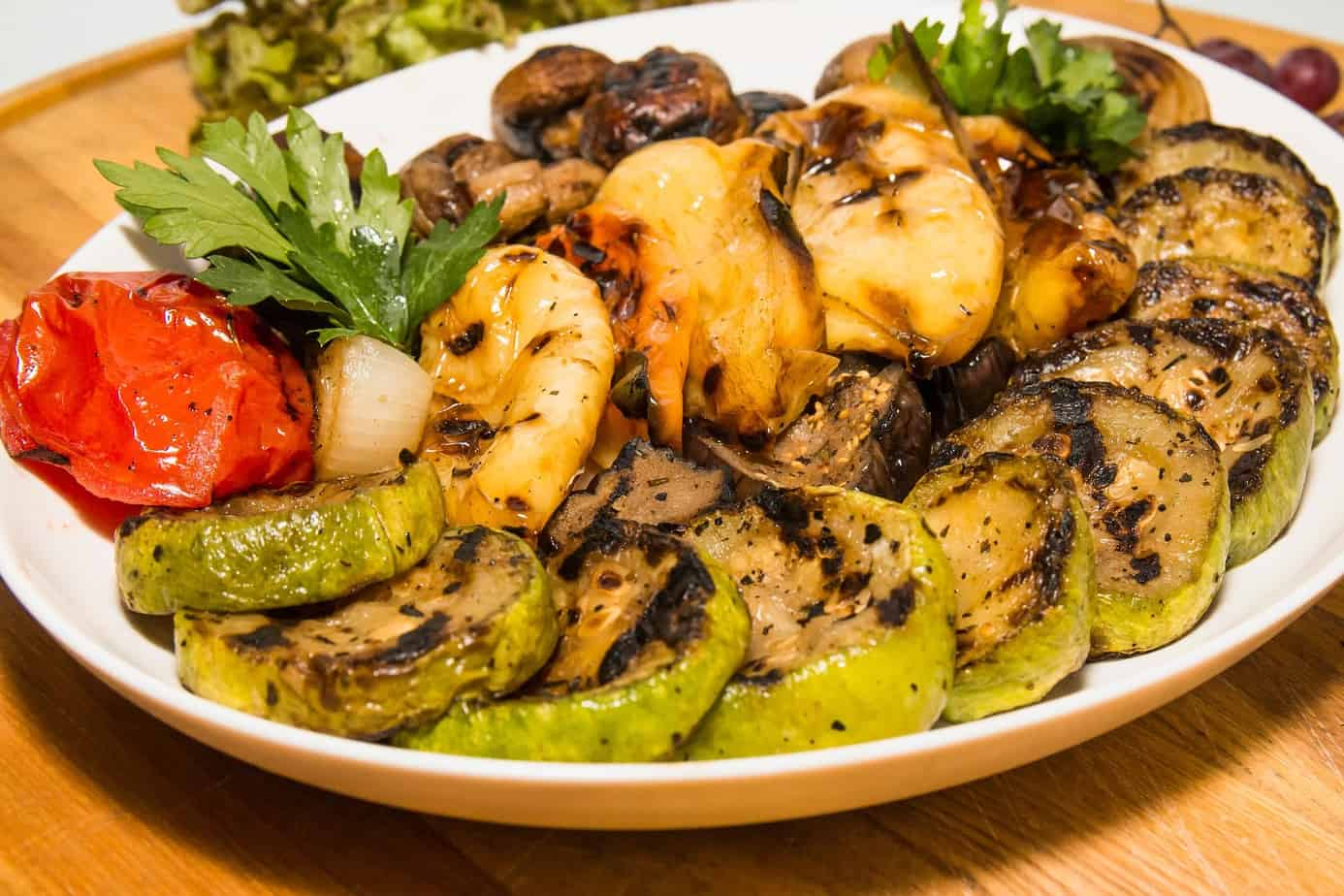 picture of grilled vegetables plated for serving
