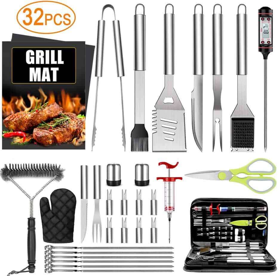 product image of Taimasi 32PCS BBQ Grill Accessories Tools Set, Stainless Steel Grilling Tools with Carry Bag, Thermometer, Grill Mats