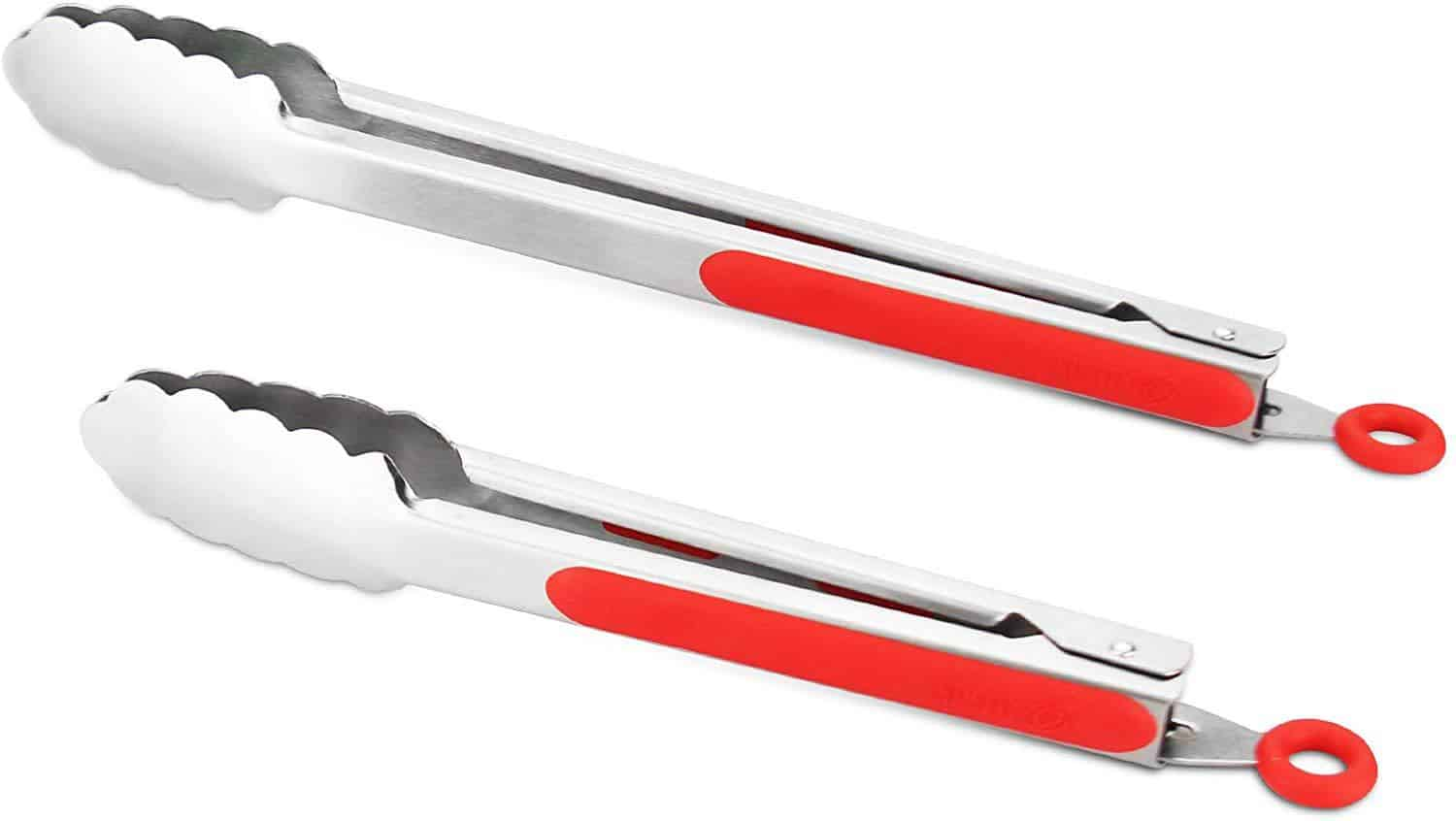 product image of Allwin-Houseware W 9-Inch & 12-Inch 304 Stainless Steel Kitchen Tongs, Set of 2 Sturdy Non-Stick Grilling