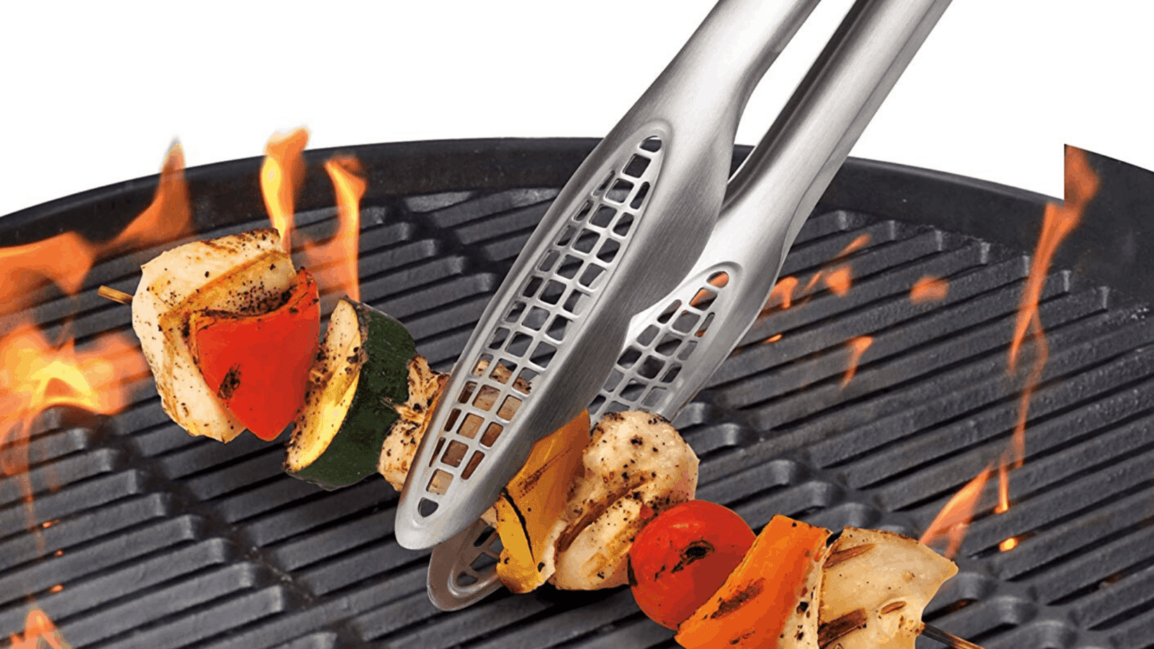 image of Cuisipro Stainless Steel Locking Tongs being used to turn skewer