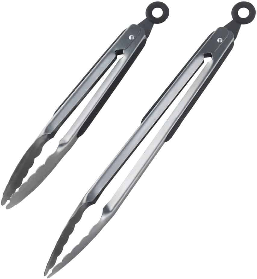 Product image of DRAGONN Premium Set of 12-inch and 9-inch Stainless-Steel Locking Kitchen Tongs, Set of 2