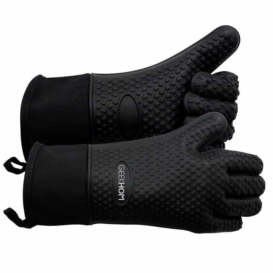 product image of GEEKHOM Grilling Gloves, Heat Resistant Gloves BBQ Kitchen Silicone Oven Mitts, Long Waterproof Non-Slip Potholder for Barbecue, Cooking, Baking (Black)