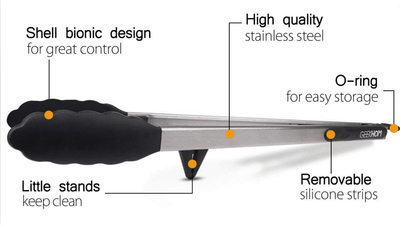 Diagram of GEEKHOM Tong 16-Inch Extra Long BBQ Grilling Tongs for Cooking