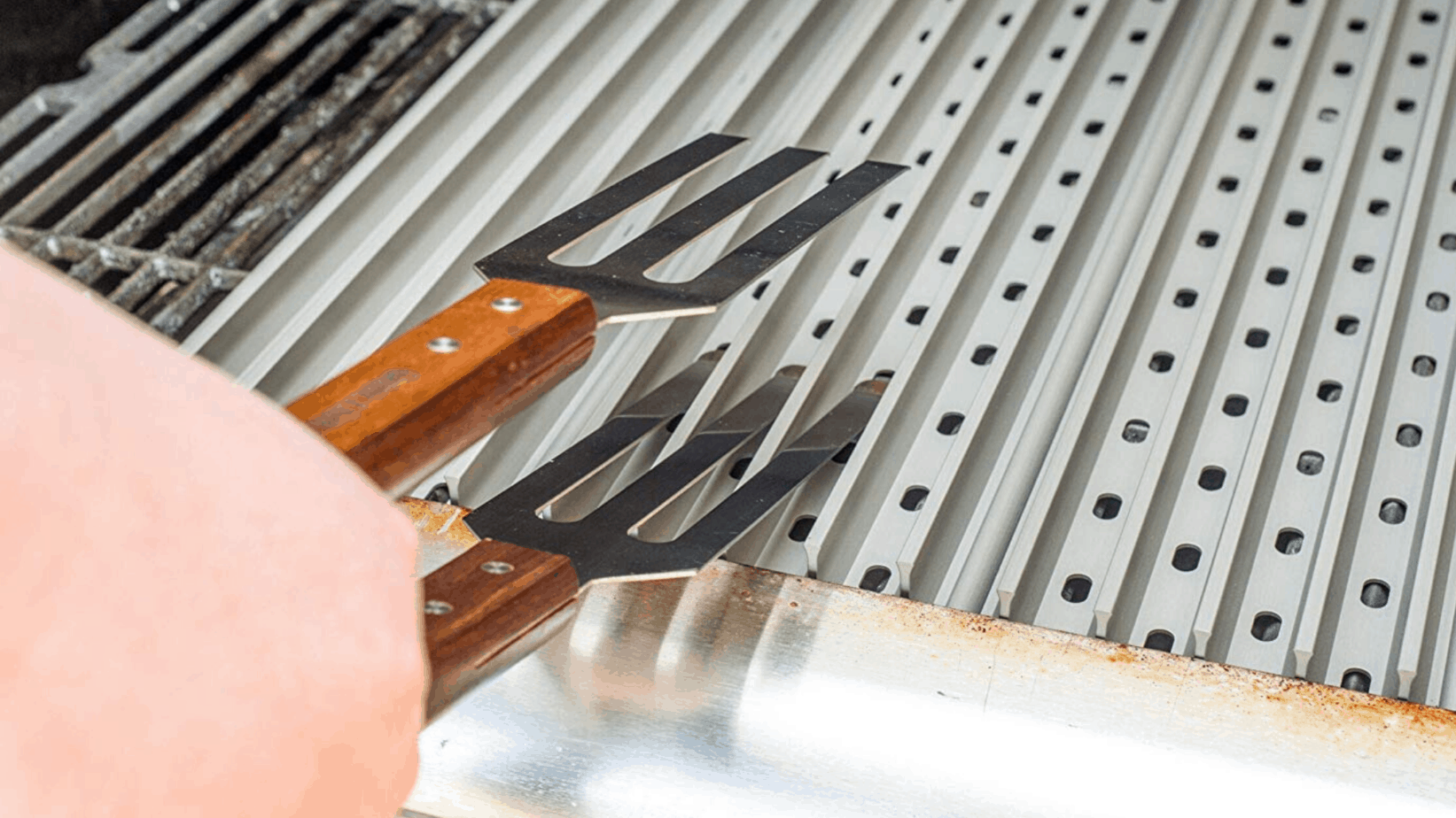 Image of GrillGrate Stainless Steel Professional Grilling Tongs being used on a grill