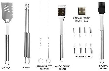 image of items of Home-Complete BBQ Grill Tool Set- Stainless Steel Barbecue Grilling