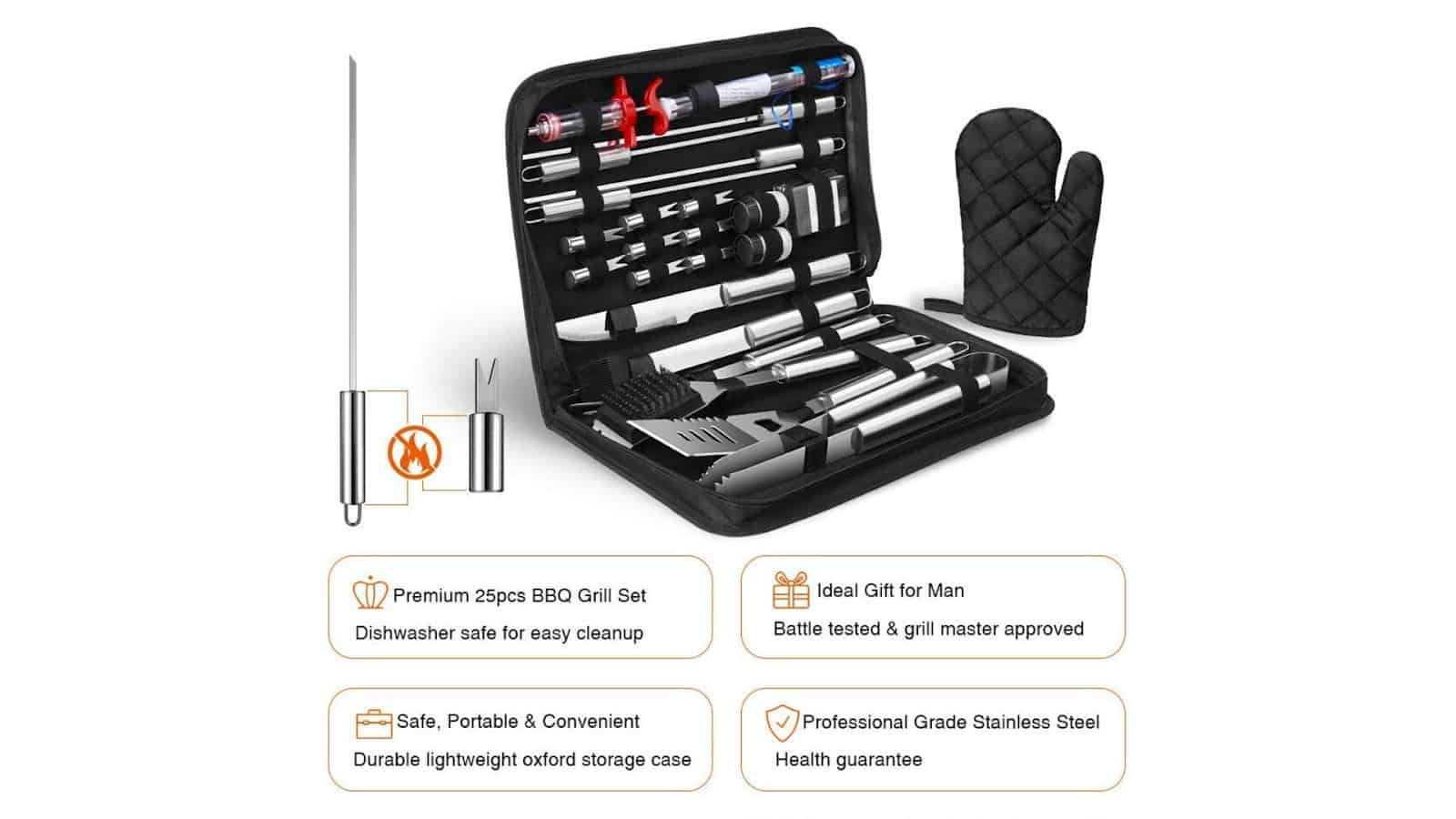 image of specific details on OlarHike 25PCS BBQ Grill Accessories Tools Set