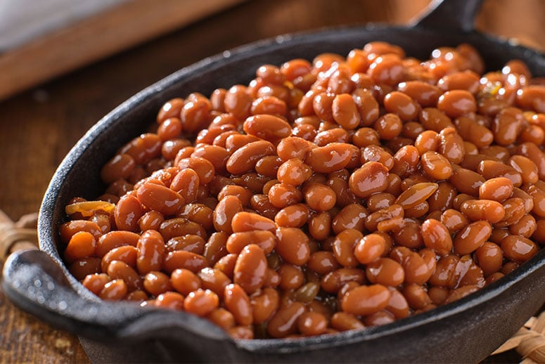 Image of BBQ beans in a skillet