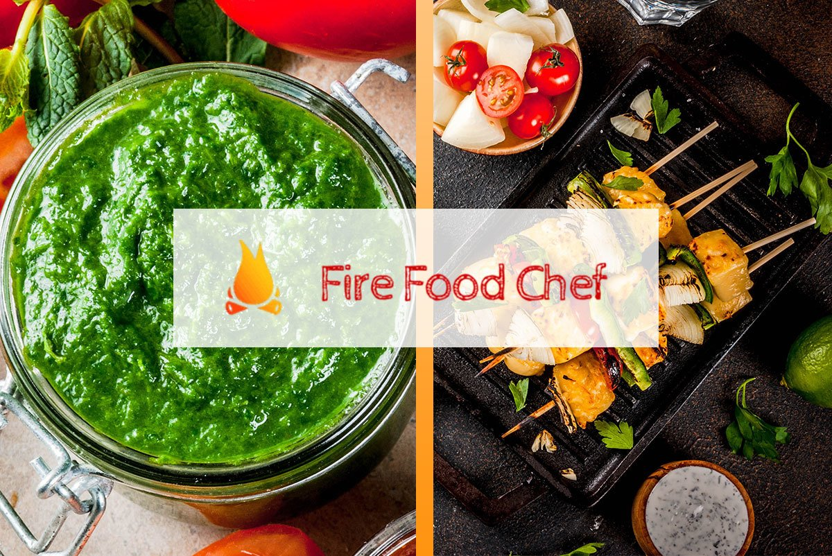 Image of Vegetarian BBQ dishes including paneer tikka and mint chutney side by side with FireFoodChef logo in the middle