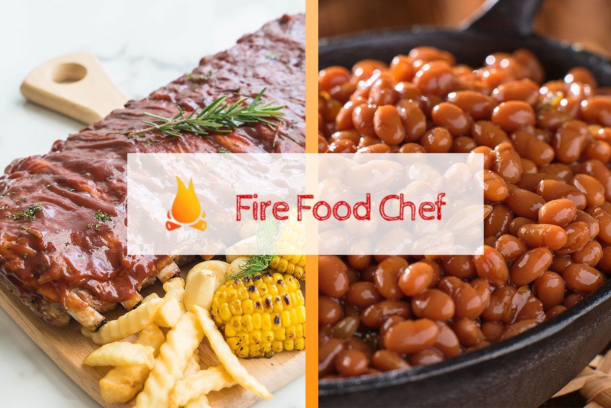 Image of BBQ ribs and BBQ beans side by side with FireFoodChef logo in the middle